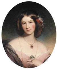 portrait of a lady in a pink dress and black shawl and garnet and diamond pendant by james godsell middleton