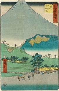 gojûsan tsugi meisho zu-e (die 53 berühmten ansichten des tôkaidô-weges). blatt: hara. nr. 14. von hara aus bietet der fuji dem reisenden einen beeindruckenden anblick. hiroshige lässt, um dies zu verdeutlichen, den gipfel des fuji übe by ando hiroshige