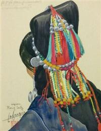 etude de coiffe de la région de phong saly (laos) by léa (madame) lafugie