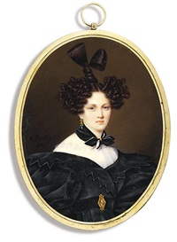 countess tolstaia, in black dress with zig-zag border and large puffed sleeves by alexandr pavlovich bryullov