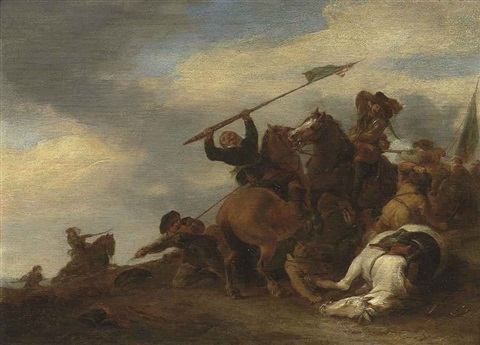 a cavalry skirmish by pieter wouwerman