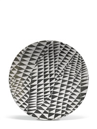 large black and white geometrical dish by james tower