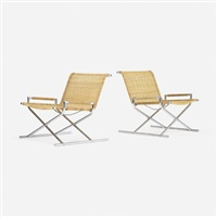 sled chairs, pair by ward bennett