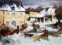 cour de ferme sous la neige by pierre eugène duteurtre