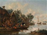 wirtshaus am fluss mit feiernden personen auf booten by thomas heeremans