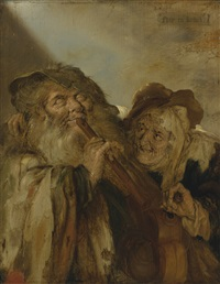 a blind man playing a flute and a peasant woman playing a hurdy-gurdy by adriaen pietersz van de venne