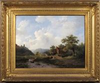 paysage avec cavalier et rivière by frederik marinus kruseman