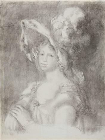 jeune femme en buste mademoiselle diéterle by pierre auguste renoir