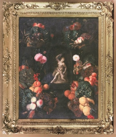 bountiful still life with flowers and fruit surrounding a niche with diana and cupid by pieter brueghel the younger
