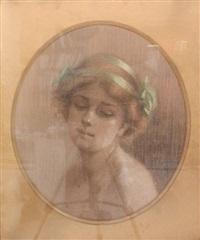 portrait de jeune femme au ruban vert by g. quinaux