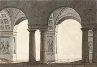 technical designs with coffered vaulting and columns by agostino aglio