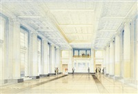 reception hall of the exchange buildings, nottingham, designed by thomas cecil howitt by cyril arthur farey