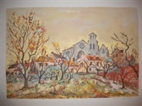vue du village by maurice armand buffet