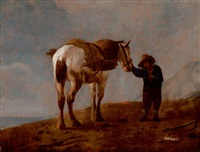 farmer waiting by a white horse by pieter wouwerman