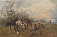 cossacks resting their horses at dusk by jozef demski