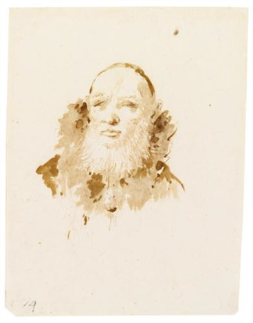 head of a bearded man wearing a skull cap by giovanni battista tiepolo