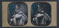 jeune femme robe relevée laçant son soulier by joseph auguste belloc