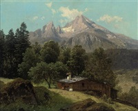 a chalet before mount watzman in berchtesgaden by adalbert waagen