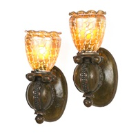 pomegranate-shaped wall sconces with art glass shades (pair) by quezal (co.)
