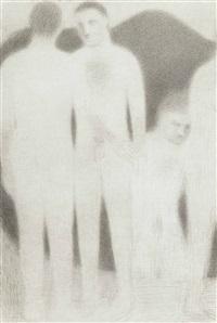 cuatro bañistas en un lago de montaña by juan josé aquerreta