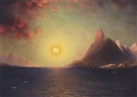 fjordlandskap i midnattsol by magnus thulstrup bagge