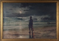moonlight scene of a fisherman walking along a shore by paul gaston