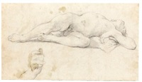 a sleeping male nude, and a study of a hand by pietro faccini