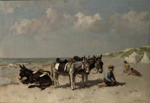donkeys on the beach by louis soonius