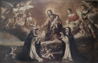 la virgen del rosario con santo domingo y santa catalina de siena by lucas de valdes