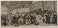 the railway station (after william powell frith) by francis montague (frank) holl