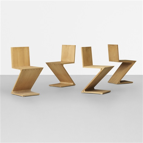zig zag chairs set of 4 by gerrit thomas rietveld