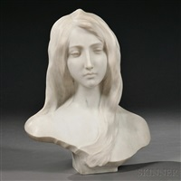 bust of an art nouveau beauty by guglielmo pugi