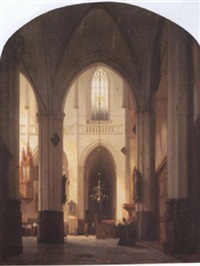 cathedral interior with figures by jan jacob schenkel
