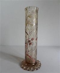 vase de forme cylindrique sur talon à bord mouvementé by émile gallé