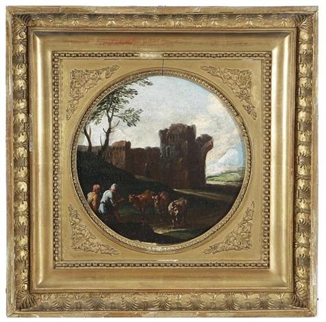 coppia di paesaggi campestri romani pair by philipp peter roos