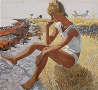 girl on the beach of romsö by karl adser