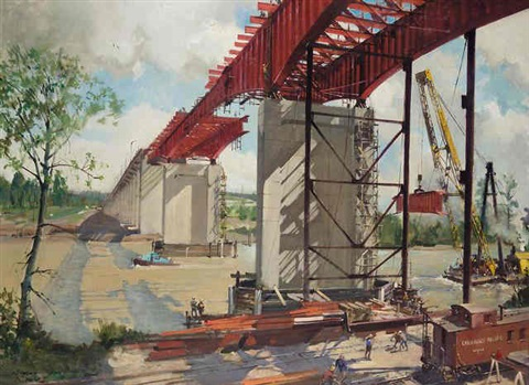 queensborough bridge new westminister british columbia by terence cuneo