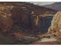 kloof with ox-wagon by adriaan hendrik boshoff