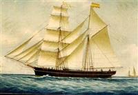 the spanish brigantine nicolas amidst mediterranean craft off the coast by louis françois prosper roux