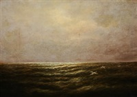 seascape with seagulls by elbridge wesley webber