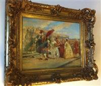 les courtisans à versailles (+ femme assise dans un récamier, verso) by henri victor lesur