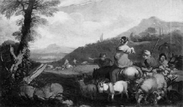 hirten mit herde in einer gebirgigen landschaft by philipp peter roos