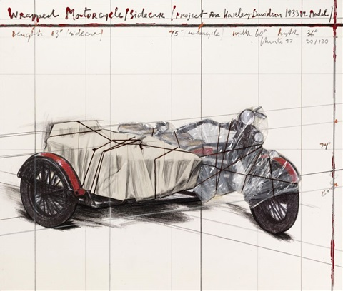 wrapped motorcycle sidecar project for harley davidson 1933 vl mode by christo and jeanne claude