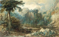 a scene in the west indies with flamingoes by a river and a silk cotton tree by samuel jackson