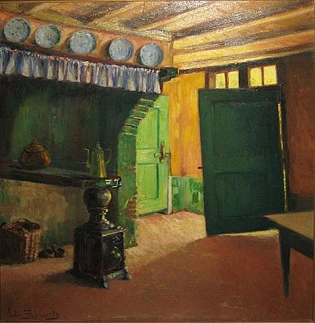 interieur van een oude hoeve by pieter stobbaerts