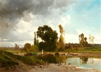 au bord de rivière by louis edouard paul fournier