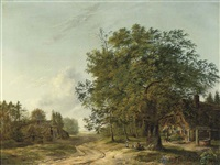 a wooded landscape with children playing near a cottage by pietersz (pieter) barbiers