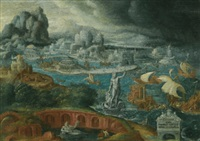 classical landscape with ships running before a storm towards a classical harbour, probably corinth by maerten jacobsz van heemskerck