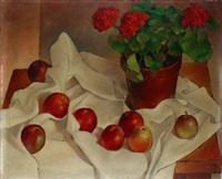 nature morte au bouquet de fleurs et pommes by jean rets
