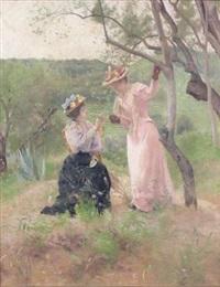 deux élégantes dans un paysage by ferdinand heilbuth